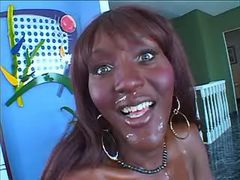 Playful ebony tranny fucking w dude