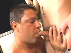 Guy serves shemales cock and ass