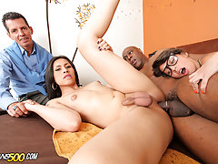 Mariana Pink goes down in this hardcore TS threesome cuckold scene!