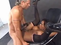 Grizzled man fucks hot black tranny