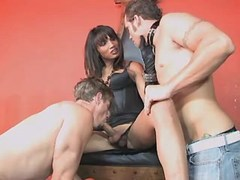 Gorgeous shemale sucked by two guys